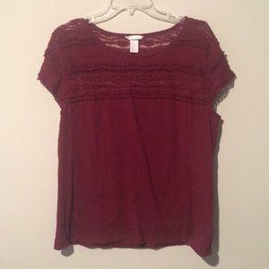 Burgandy/maroon lace top